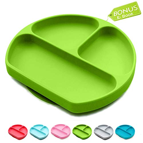 Baby Dröm Suction Plates for Babies, Toddlers, Silicone Placemats for Kids That Stick to High Chair Trays and Table, Baby Dishes - Kids Plates (Green)