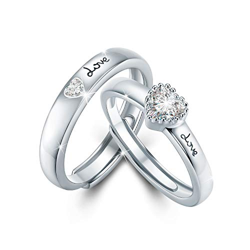 matching rings Couple Ring for Lovers, 925 Sterling Silver Matching Rings for Couples His and Her Rings Eternity Rings Promise Rings Adjustable Open End Ring Valentine's Day Gifts