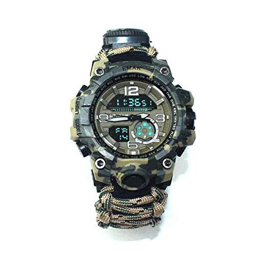 WYYHAA Reloj de Pulsera de Supervivencia Ajustable, Reloj Luminoso de Supervivencia de Emergencia Resistente al Agua Multifuncional con Brújula Silbato Paracord y Equipo de Termómetro