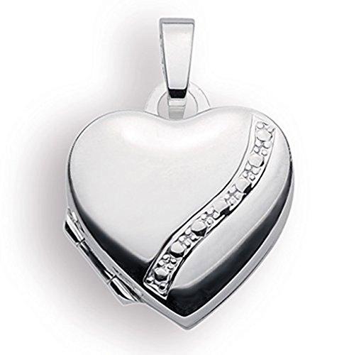 Haus der Herzen Medaillon 925 Silber Herz zum öffnen für Bildereinlage/ 2 Fotos Amulett (Kette)