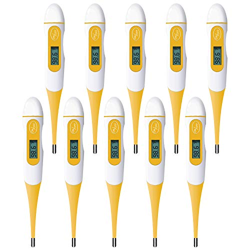 (10 Packs) Oral Thermometer with Flexible Tip for Adults, Children, Kids, Baby with Accurate Fast Reading (Fahrenheit)