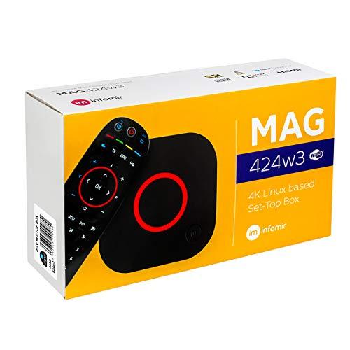 MAG 424w3 Original Infomir & HB-DIGITAL 4K IPTV Set TOP Box Multimedia Player Internet TV IP Receiver 4K UHD 60FPS 2160p@60 FPS HDMI 2.0 HEVC H.256 ARM Cortex-A53 WLAN WiFi (802.11n/ac) + HDMI Kabel
