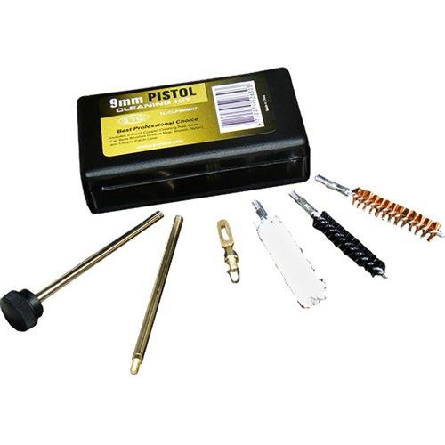 Kit di pulizia. Per armi da fuoco leggere 38/357e 9mm. 3spazzole in bronzo, cotone e nylon. Sta nella tasca di qualsiasi giacca.