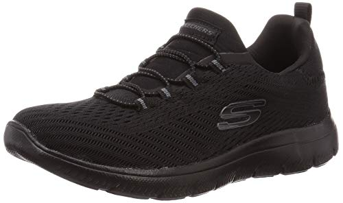 Skechers Damen Summits Fast Attraction Sneaker, Schwarzes Mesh-Band, Schwarz, 38 EU