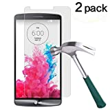 TANTEK [2-Pack] Screen Protector for LG G3,Tempered Glass Film,Ultra Clear,Anti Scratch,Bubble Free,Case Friendly