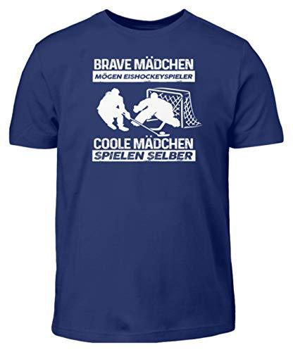 Eishockey: Coole Mädchen Spielen selber - Kinder T-Shirt -9/11 (134/146)-Indigo