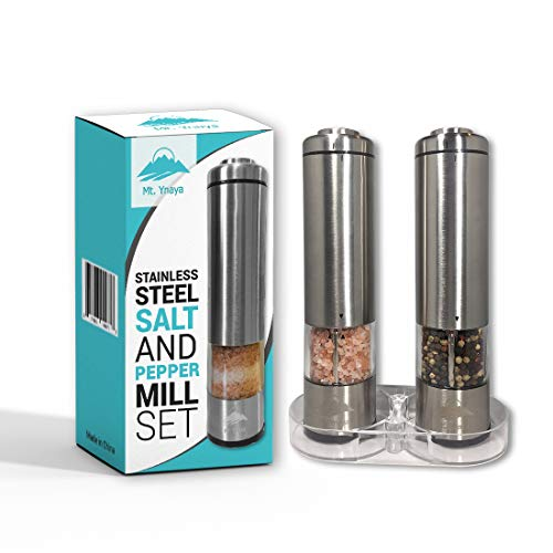 Salt and Pepper Electric Grinder Set by Mount Ynaya- 2 Tall Battery Operated Stainless Steel Mills with Ceramic Spice Grinders- Adjustable Coarseness - LED Lights & Lids- Includes Acrylic Stand