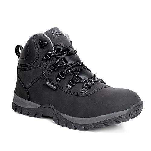 Nord Trail Edge Hiking Boots for Men - Black Hi-Top Waterproof High Grip - 8