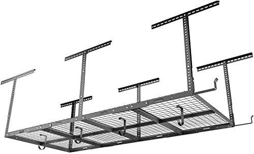 FLEXIMOUNTS 4x8 Overhead Garage Storage Rack w/Hooks Adjustable Ceiling Storage Racks, 96' Length x 48' Width x 40' Height, 22''-40' Ceiling Dropdown, Black