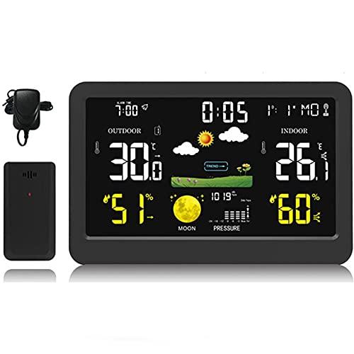 Estación Meteorológica con Wireless Sensors, Weather Station con Alerta y Temperatura/Humedad/Barométrico/Pronóstico/Fase Lunar, Barómetro Multifunción, para Interiores y Exteriores