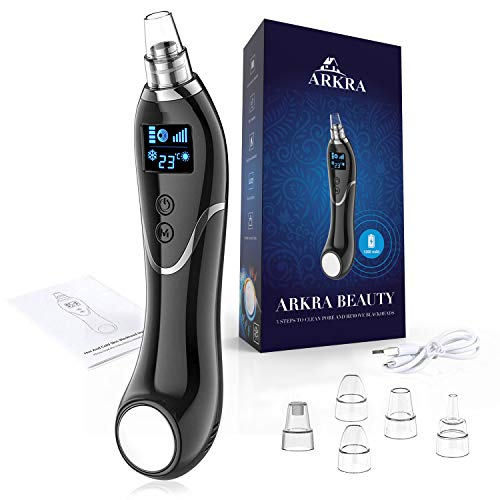 Blackhead Remover Vacuum, ARKRA Pore Vacuum Electric Face Cleaner Acne Comedone Pimple Extractor Sucker Tool with Cold And Hot Compress Lcd Dispaly & 5 Suction Heads for Women and Men