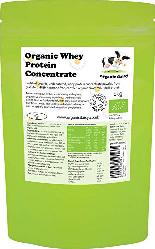 Organic Whey Protein Powder 1kg (3kg or 5kg) Grass Fed SOYA Free Concentrate Pure Natural Unflavoured Gluten Free Low Carb Vegetarian No GMO 1000g