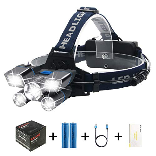 Headlamp Rechargeable, 13000 Lumen 21 Led Brightest High Hard Hat HeadLight, Waterproof Work Flashlight with 9 Modes and Battery Capacity Indicator Light, Head lamp for Camping Hunting Outdoors