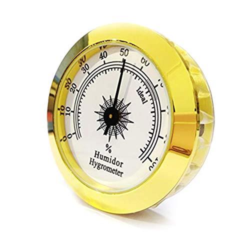 Hihey Analoges Thermo Hygrometer Temperatur Luftfeuchtigkeit gesundes 1 stück Runde Analog Hygrometer Für Humidore Gold Für Gitarre Violine Zigarre Tabak Box