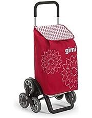 Gimi Tris Floral- Carro de la compra, con 6 ruedas, bolsa impermeable de poliéster, capacidad de 56 litros, rojo, 41 x 51 x 102 cm