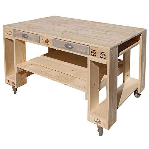 41cHRfSQM8L - Palettenmöbel Grill-Tisch Captain Cook Basic, Neuholz gebeizt in klassischer Paletten Optik, jedes Teil ist einzigartig und Wird in Deutschland in Handarbeit gefertigt