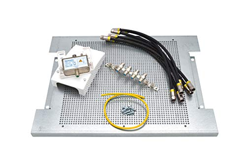 maxx.onLine Kabelfernsehen Montage-Set für 4 Teilnehmer, Hausanschlussverstärker und Kabel-TV Verteiler mit 300x400x18mm Montageplatte, Überspannungsschutz, Erdungsblock, Cabelcon Patchkabel