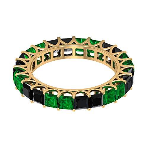 Anillo de esmeralda de 1,5 CT3 mm, anillo de espinela negra de corte princesa, anillo de boda delicado, anillo de piedra natal mayo, banda de eternidad completa, 18K Oro amarillo, Size:EU 55