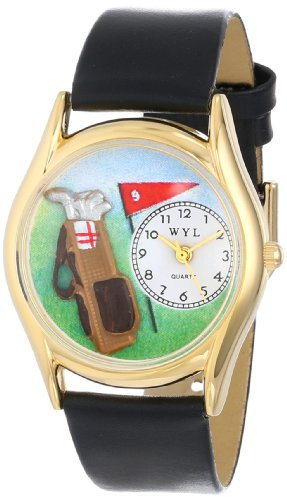 Whimsical Watches Kids' C0820010 Classic Gold Golf Bag Black Leather And Goldtone Watch