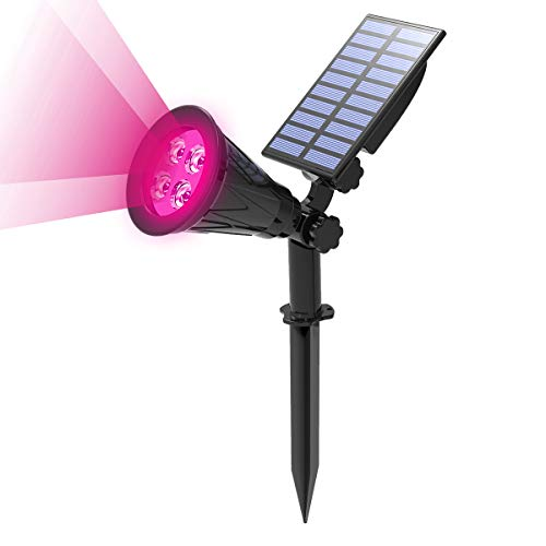 T-Sun Solar Spotlights, 4 LED Solar Powered Waterproof Outdoor Garden Landscape Lights, Auto-on/Auto-Off by Day, 180 Angle Adjustable for Tree, Patio, Yard, Garden, Driveway,Pool Area(Pink-1Pack)