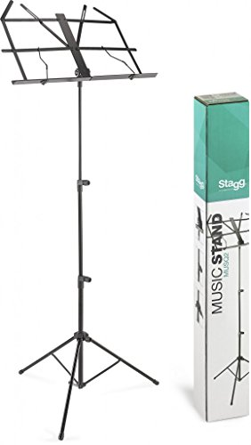 Stagg MUSQ2 - Atril musical (3 pies, 114 cm), color negro