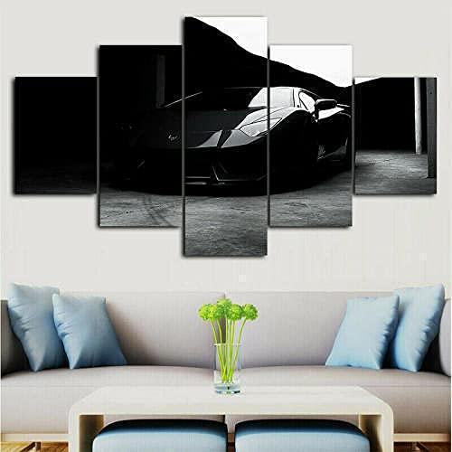 YING 5 Piezas lienzos para Pintar Grandes Lamborghi Aventador Negro Decorativos Personalizado con Foto bastidores para lienzos Grandes Decorativos XXL