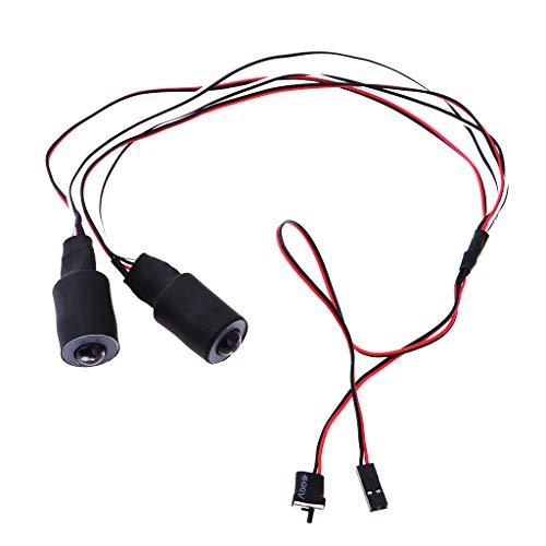 Fenteer Phare Feu Arrière Système de Lumière 2 LED pour 1/10 RC Voiture Camion - 17mm