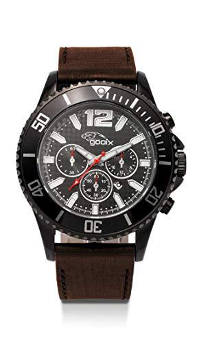 gooix GX0600530A Uhr Herrenuhr Lederarmband Edelstahl 10 bar Analog Datum Braun