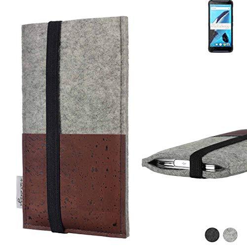 flat.design Handy Hülle Sintra für Energizer Hardcase H570S Handytasche Filz Tasche Schutz Kartenfach Hülle braun Kork