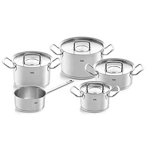 Fissler Pure-profi Collection - Batería de cocina (6 unidades, acero inoxidable, con tapa de metal, 3 ollas, 1 cacerola y 1 sartén para servir)