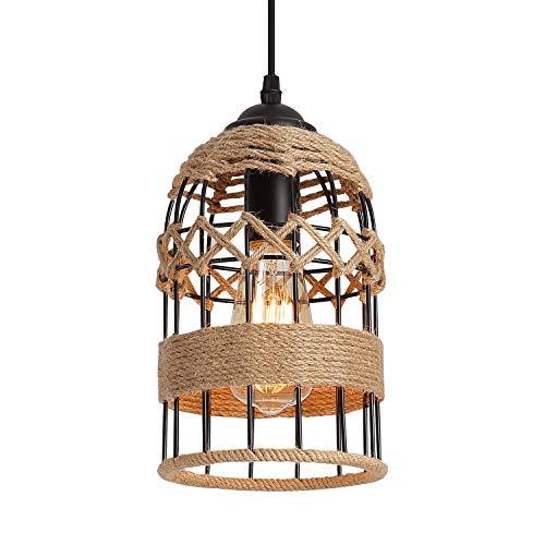 Rustic Woven Cage Pendant Light, One-Light Industrial Metal Hemp Rope Mini Pendant Lighting Fixture for Kitchen Island Cafe Bar Farmhouse, Black