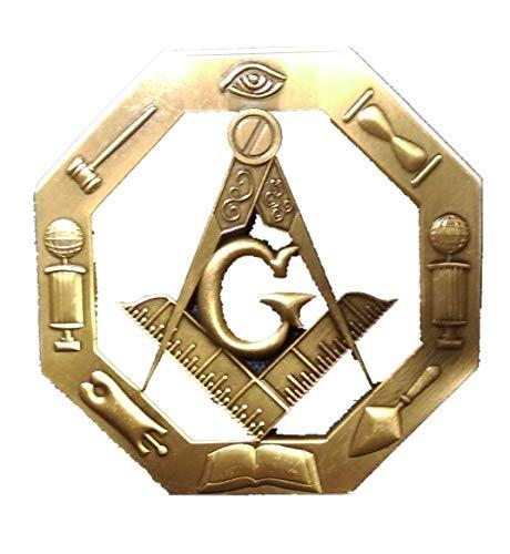 Gold 3D Masonic Mason Freemasonry Car Cut-Out Metal Auto Decal Badge Emblem C505