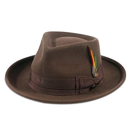 Cappelli Fedora da Uomo Cappello Panama Gangster in Feltro di Lana Marrone Tesa Larga e Fascia con Piuma Vintage L