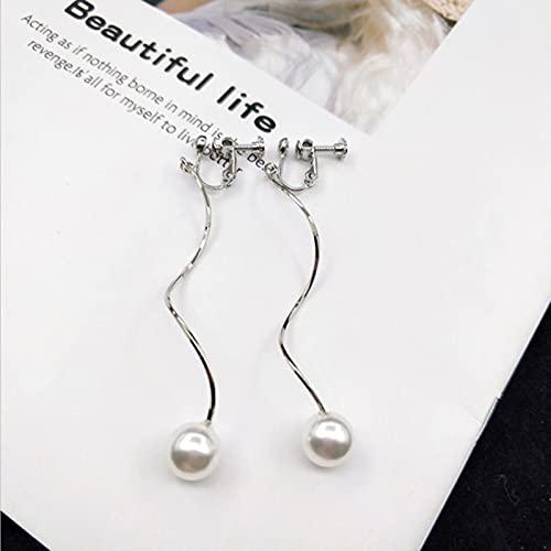 Pendientes De Clip De Perlas Simuladas De Oro Piercing Joyería De Estilo Simple para Mujeres De Moda