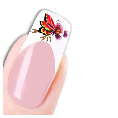 Just Fox – Tattoo Nail Art Paillettes autocollants papillon Butterfly Stickers pour ongles rouge
