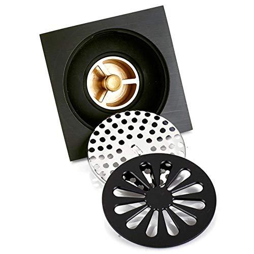 LIBO Drain de Plancher Drain de Douche carré de 4 Pouces avec Grille de Protection Amovible, Ensemble de Drain de Plancher Anti-encrassement et d'odeur en Laiton avec bac à Cheveux, Noir