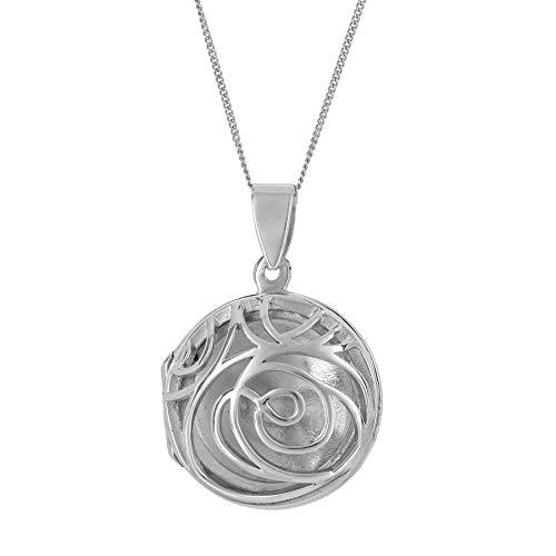 Silverly Mujer Collar Colgante en Plata de Ley Esterlina .925 Filigrana Medallón Redondo 46 cm