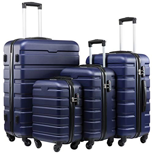 Seanshow Luggage 4 Piece Lightweight Spinner Suitacase Set with TSA Lock Navy 16in20in24in28in
