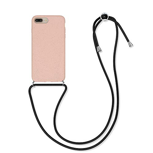 kalibri Funda Compatible con Apple iPhone 7 Plus / 8 Plus Carcasa de TPU y Trigo Natural con Correa Ajustable Rosa Claro/Negro ⭐
