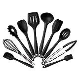 Juego de utensilios de cocina, 10 piezas de silicona, antiadherente, utensilios de cocina para hornear, resistentes al calor y duraderos, que no se rayan, utensilios de cocina negros, buen ayudante
