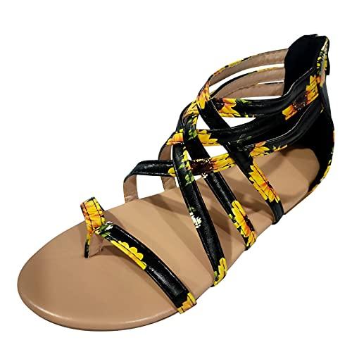 xfyx Sandals for Women, Women's Flat Summer Sandals Boho Zipper Beach Open Toe Flip Flops Breathable Roman Shoes Casual Summer Beach Sandals