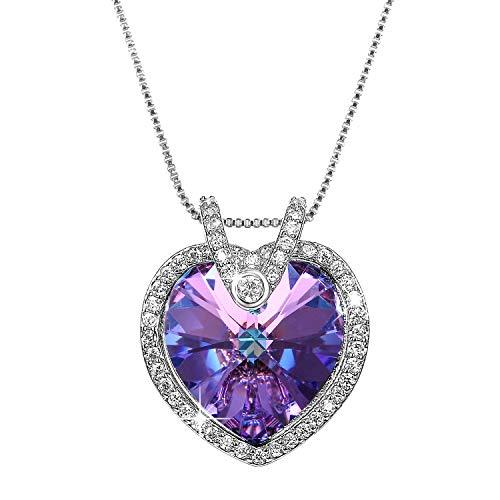 Aroncent Collar con Swarovski Cristal Cadena Ajustable de Cobre Colgante Púrpura Forma de Corazón…