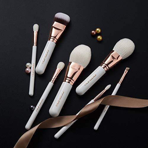 EIGSHOWメイクブラシセット化粧ブラシフェイスブラシ化粧筆柔らかい描きやすい木柄細光峰天然毛使用粉含み力抜群化粧ポーチ付き7本セットローズゴールド