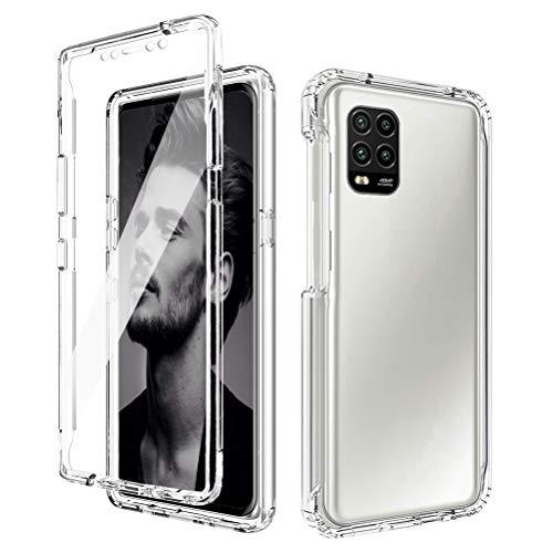 Mkej Hülle Compatible with Xiaomi Mi 10 Lite Hülle, 360° R&umschutz Transparent TPU Silikon Handyhülle Mit Eingebautem Bildschirmschutz, Stoßfest Kratzfest Bumper Crystal Schutzhülle, klar