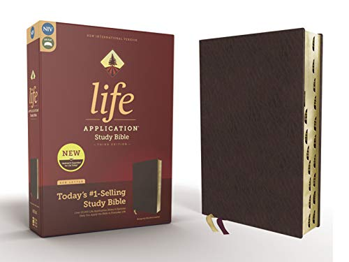 NIV, Life Application Study Bible, Third Edition, Bonded Leather, Burgundy, Red Letter Edition, Thumb Indexed