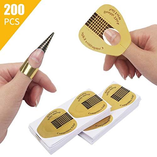 DILISEN 200 PCS en Forme de Fer à Cheval en Forme de Conseils d'extension d'art d'ongle, ongle Acrylique/UV Gel Nail Form Guide Autocollants (200 Pack) (200 Pack)