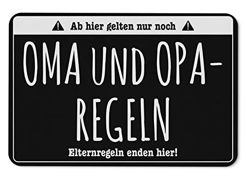 Tassenbrennerei Fussmatte mit Spruch Oma und Opa Regel - Elternregeln Enden Hier - Fußabtreter, Türmatte - Geschenk (Schwarz)