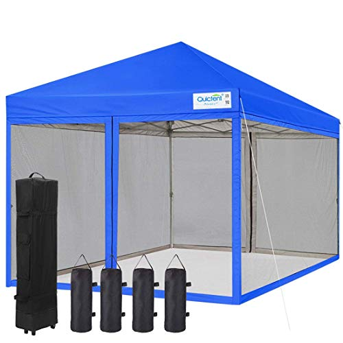 Quictent 8x8 Ez Pop up Canopy Tent with Netting Instant Setup Screen House Mesh Screen Walls Waterproof, Roller Bag & 4 Sand Bags Included (Royal Blue)
