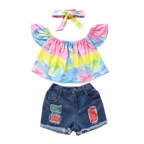 Toddler Girl Clothes - Juego de 3 camisetas de tirantes y pantalones cortos de vaqueros con lazo, para el hombro Rosa y amarillo. 12-24 meses