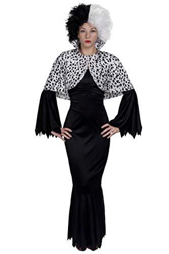Disfraz de Halloween para perro malvado dama libro semana vestido largo negro + peluca desordenada + capa - UK 20 - 22